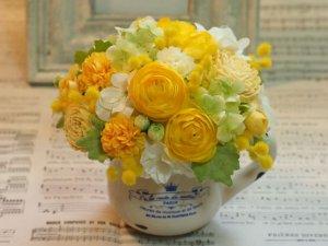 画像1: 陶器ピッチャーアレンジ・ミモザ